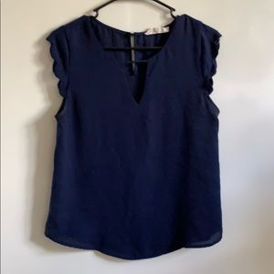 Navy blue chiffon shirt